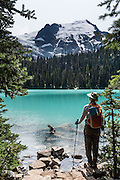 At Middle Joffre Lake, see Matier Glacier (left) and Stonecrop Glacier on Slalok Mountain (right) in Joffre Lakes Provincial Park of British Columbia, near Pemberton, in the Coast Range, Canada. A rough, rocky, steep hike of 10 kilometers round trip ascends (400 meters up) by a rushing stream to three beautiful turquoise lakes (colored by glacial silt reflecting green and blue sunlight).