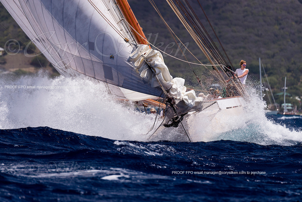 Adventuress sailing in the Butterfly Race at the Antigua Classic Yacht Regatta.