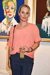 Sarah Lindsay at a private view of work by Bradley Theodore entitled 'The Second Coming' at the Maddox Gallery, 9 Maddox Street, London England. 19 April 2017.