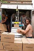 Domaine Le Conte des Floris, Caux. Pezenas region. Languedoc. Mobile bottling line. Bottling line operator. France. Europe.