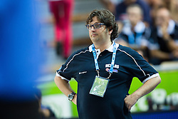 04.09.2013, Arena Bonifka, Koper, SLO, Eurobasket EM 2013, Schweden vs Griechenland, im Bild Andrea Trinchieri, head coach of Greece // during Eurobasket EM 2013 match between Sweden and Greece at Arena Bonifka in Koper, Slowenia on 2013/09/04. EXPA Pictures © 2013, PhotoCredit: EXPA/ Sportida/ Matic Klansek Velej<br /> <br /> ***** ATTENTION - OUT OF SLO *****