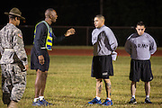 US Army First Sergeant Instructor Mark Halliburton reprimands a Drill Sergeant candidate at the US Army Drill Instructors School Fort Jackson during the entry physical training test early morning September 27, 2013 in Columbia, SC. While 14 percent of the Army is women soldiers there is a shortage of female Drill Sergeants.