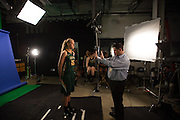 April 2, 2016; Indianapolis, Ind.; Alysha Devine listens to instructions during their green screen session at the NCAA Headquarters.