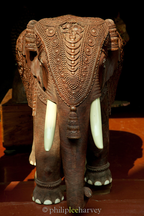 A wooden elephant for sale in a girft shop in Cochin, Kerala, India