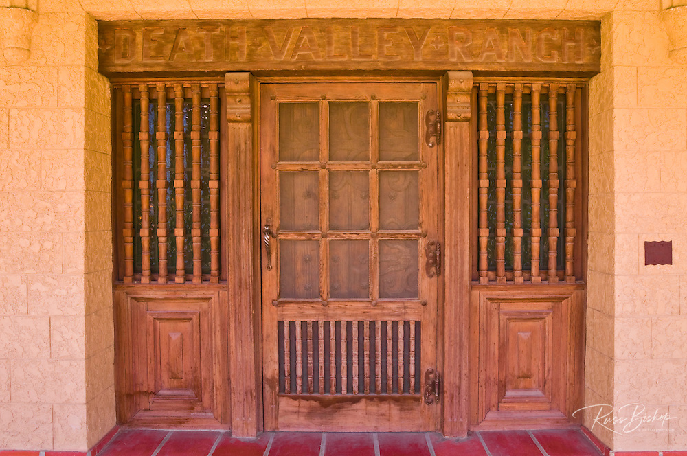 The front door at Scottys Castle (Death Valley Ranch), Death Valley National Park. California