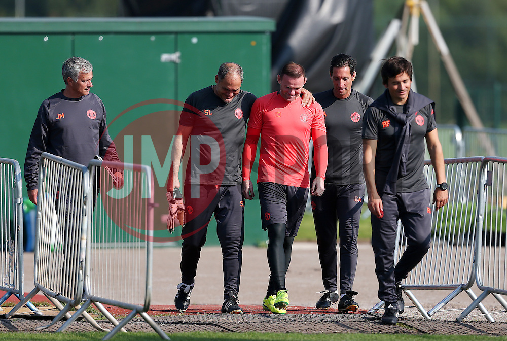 Wayne Rooney of Manchester United walks out to the training pitch with Jose Mourinho and his coaching staff - Mandatory by-line: Matt McNulty/JMP - 14/09/2016 - FOOTBALL - Manchester United - Training session ahead of Europa League Group A match against Feyenoord