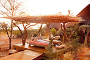 Tswalu Kalahari Reserve, the Oppenheimer family-owned reserve near the very small town of Vanzylsrus. Guest receiving massage & aroma therapy.