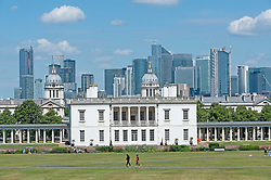 ©Licensed to London News Pictures 22/07/2020     <br /> Greenwich, UK. Blue sky above the Queens's house in Greenwich park. Warm hot sunny weather in the UK today as people get out and about in Greenwich, London. Photo credit: Grant Falvey/LNP