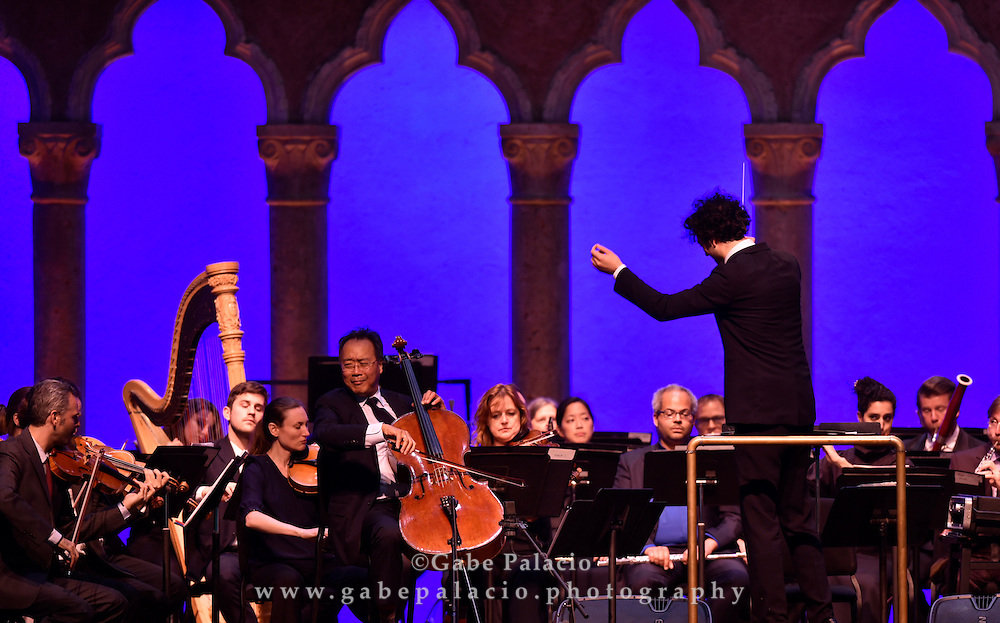 The Knights with conductor Eric Jacobsen and <br /> Yo-Yo Ma perform in the Venetian Theater at Caramoor in Katonah New York on September 27, 2015. <br /> (photo by Gabe Palacio)