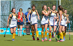 Oranje celebrating their goal during day one of the FNB Private Wealth Super 12 Hockey Tournament held at Oranje Meisieskool in Bloemfontein, South Africa on the 6th August 2016<br /> <br /> Photo by:   Frikkie Kapp / Real Time Images