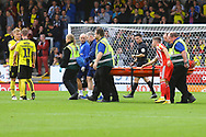 Sunderland forward Charlie Wyke (9) is stretchered off the pitch during the EFL Sky Bet League 1 match between Burton Albion and Sunderland at the Pirelli Stadium, Burton upon Trent, England on 15 September 2018.
