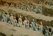 Figurines in the Museum of the Qin Terracotta Warriors, the mausoleum of Qin Shi Huang,emperor of China, Xian, Shaanxi Province, Northwest China discovered in 1974.
