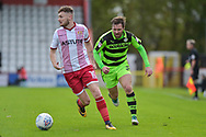 Forest Green Rovers Scott Laird(3) closes down Stevenage Midfielder, Ben Kennedy (10) during the EFL Sky Bet League 2 match between Stevenage and Forest Green Rovers at the Lamex Stadium, Stevenage, England on 21 October 2017. Photo by Adam Rivers.