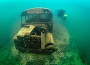 KISS Spirit rebreather diver on the school bus wreck at Dutch Springs, Scuba Diving Resort in Pennsylvania