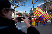 Thousands of people march in Barcelona against the Independence's Call of the Catalan Government. The strike has been organized by the PP, Ciutadans and UPD Political Partys. The strikers don't want the indepenpendence of Catalonia. They feel spanish and catalan. Location: Catalonia Square