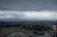The snow has mostly melted, but the Holmenkollen ski jump in Oslo, Norway, still attracts visitors on May 11, 2013. The ski jump offers spectacular vistas of the city, fjord, islands and mountains. The current steel tower opened in 2010. In the off-season, a zip line can take the adventurous quickly to the bottom. A ski museum includes some of the outfits worn by Norwegian royalty.  (@2013, Cindi Christie/Cyanpixel)