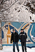 Moscow, Russia, 22/01/2006..Pedestrians walk past frozen trees in central Moscow as a Siberian weather front brings temperatures down to minus 36C in the Russian capital and leads to power cuts in the city.