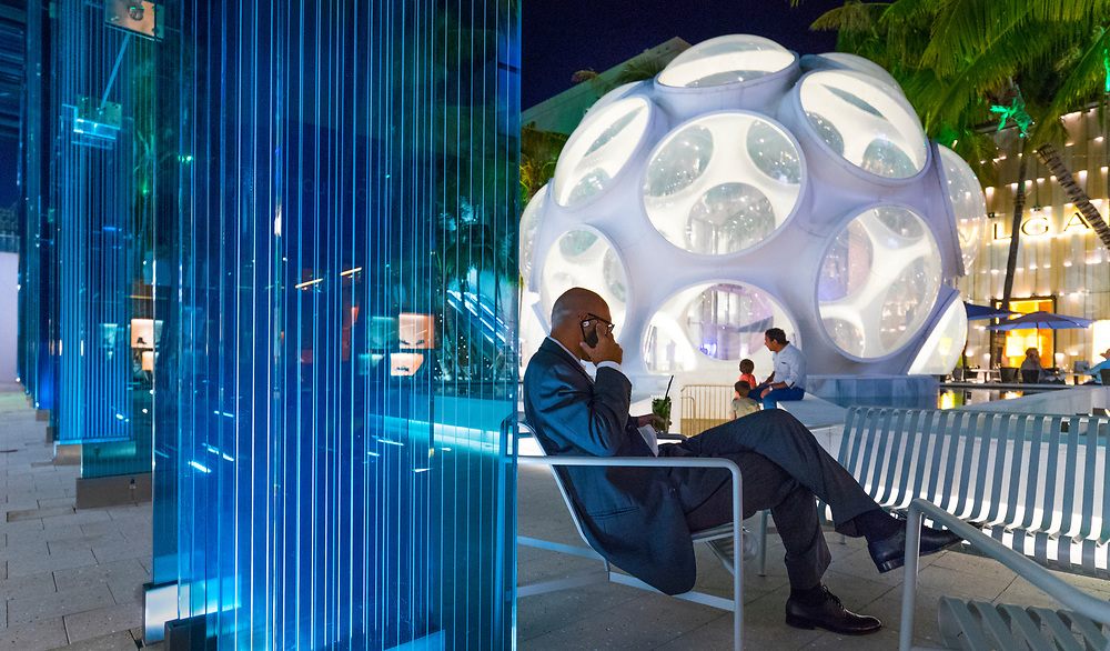 A Mid-Century Modern geodesic dome designed by Buckminster Fuller and transplanted into the Miami Design District's Palm Court somehow manages to be both retro and futuristic.