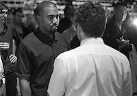 Tom Sachs and Kanye West at the opening of Tom Sachs: SPACE PROGRAM: MARS an art exhibit at The Park Avenue Armory in New York...Photo by Robert Caplin