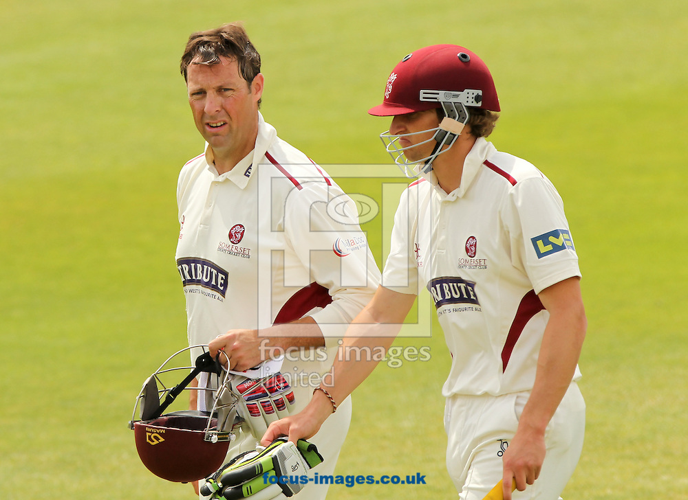 Marcus Trescothick (left) and Chris Jones (right) of Somerset County Cricket Club during the LV County Championship Div One match at the County Ground, Taunton, Taunton<br /> Picture by Tom Smith/Focus Images Ltd 07545141164<br /> 29/06/2014