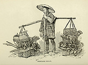Japanese Vegetable Pedlar from the book ' Rambles in Japan : the land of the rising sun ' by Tristram, H. B. (Henry Baker), 1822-1906. Publication date 1895. Publisher New York : Revell