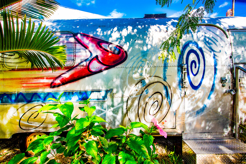 An Airstream trailer, custom-painted by pop artist Kenny Scharf, on display in Miami's Wynwood district.
