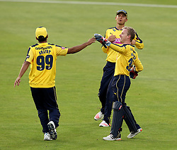 Hampshire's Adam Wheater is congratulated by Hampshire's Yasir Arafat after taking a catch - Photo mandatory by-line: Robbie Stephenson/JMP - Mobile: 07966 386802 - 03/07/2015 - SPORT - Cricket - Southampton - The Ageas Bowl - Hampshire v Glamorgan - Natwest T20 Blast