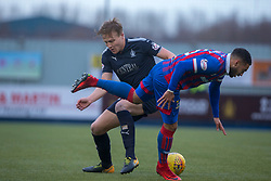 Falkirk's Peter Grant and Inverness Caledonian Thistle's Jake Mulraney. half time : Falkirk 0 v 0 Inverness Caledonian Thistle, Scottish Championship game played 27/1/2018 at The Falkirk Stadium.
