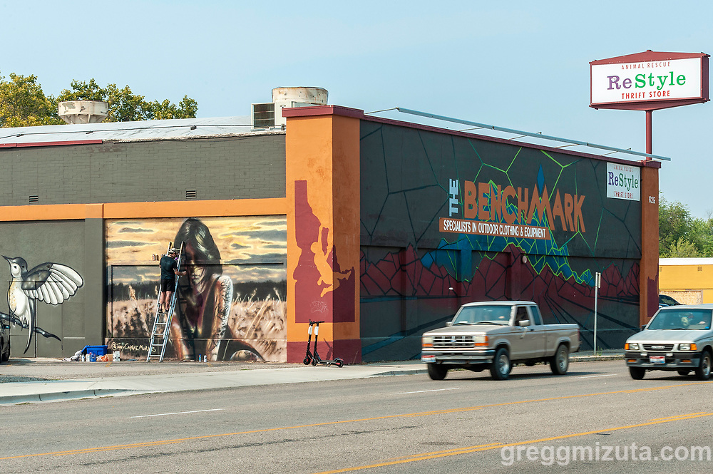 Tony Caprai. Boise Mural Project's Reconnection mural event in Boise, Idaho on September 6, 2020. <br /> <br /> Tony's mural was located at Restyle Thrift Shop 625 Vista Avenue.<br /> <br /> Boise Mural Project's Reconnection was a community driven project bringing art to public places and featuring local and regional artist.  It was a week long event from September 1 - 7, 2020. Mural were located at The Record Exchange (1105 W Idaho St.), Brewer's Haven (1795 S Vista Ave), Restyle Thrift Store (625 Vista Avenue), and the 600 block on N Orchard St. There were multiple artist and murals at all the sites.