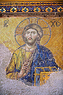 Byzantine Deësis ( Entreaty) mosaic , 1261, detail of Christ Pantocrator for humanity on Judgment Day.   Hagia Sophia, Istanbul, Turkey .<br /> <br /> If you prefer to buy from our ALAMY PHOTO LIBRARY  Collection visit : https://www.alamy.com/portfolio/paul-williams-funkystock/istanbul.html<br /> <br /> Visit our TURKEY PHOTO COLLECTIONS for more photos to download or buy as wall art prints https://funkystock.photoshelter.com/gallery-collection/3f-Pictures-of-Turkey-Turkey-Photos-Images-Fotos/C0000U.hJWkZxAbg