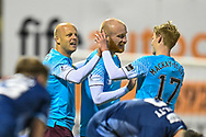 GOAL 0-4 Steven Naismith (#14) of Heart of Midlothian FC celebrates with team mates after he scores Hearts third goal during the SPFL Championship match between Raith Rovers and Heart of Midlothian at Stark's Park, Kirkcaldy, Scotland on 30 April 2021.