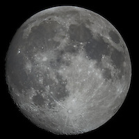 """Moon over New Jersey. Image taken with a Nikon D3x and Questar 7"""" telescope (ISO 200, 2500 mm, f/16, 1/200 sec)"""