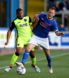 Reuben Reid of Exeter City takes on Tom Miller of Carlisle United - Mandatory by-line: Robbie Stephenson/JMP - 14/05/2017 - FOOTBALL - Brunton Park - Carlisle, England - Carlisle United v Exeter City - Sky Bet League Two Play-off Semi-Final 1st Leg