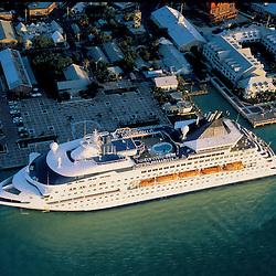 Aerial photograph Cruise Ship docked  of Key West, Florida