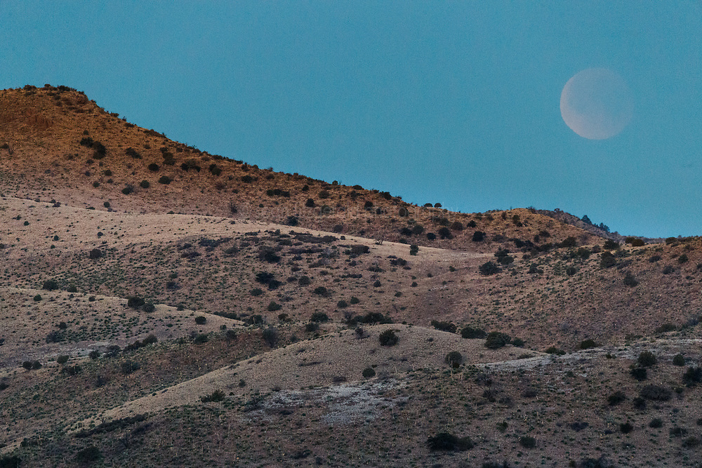 """""""Super Blue Blood Moon"""" in Animas Creek, Ladder Ranch, west of Truth or Consequences, New Mexico, USA."""