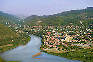 The confluence of the Aragvi and Mtkvari Rivers, in Central-Eastern Georgia, some 20km northwest of Tbilisi and the town of Mtkvari with the Svetitstkhoveli Cathedral at its centre .<br /> <br /> Visit our MEDIEVAL PHOTO COLLECTIONS for more   photos  to download or buy as prints https://funkystock.photoshelter.com/gallery-collection/Medieval-Middle-Ages-Historic-Places-Arcaeological-Sites-Pictures-Images-of/C0000B5ZA54_WD0s<br /> <br /> Visit our REPUBLIC of GEORGIA HISTORIC PLACES PHOTO COLLECTIONS for more photos to browse, download or buy as wall art prints https://funkystock.photoshelter.com/gallery-collection/Pictures-Images-of-Georgia-Country-Historic-Landmark-Places-Museum-Antiquities/C0000c1oD9eVkh9c