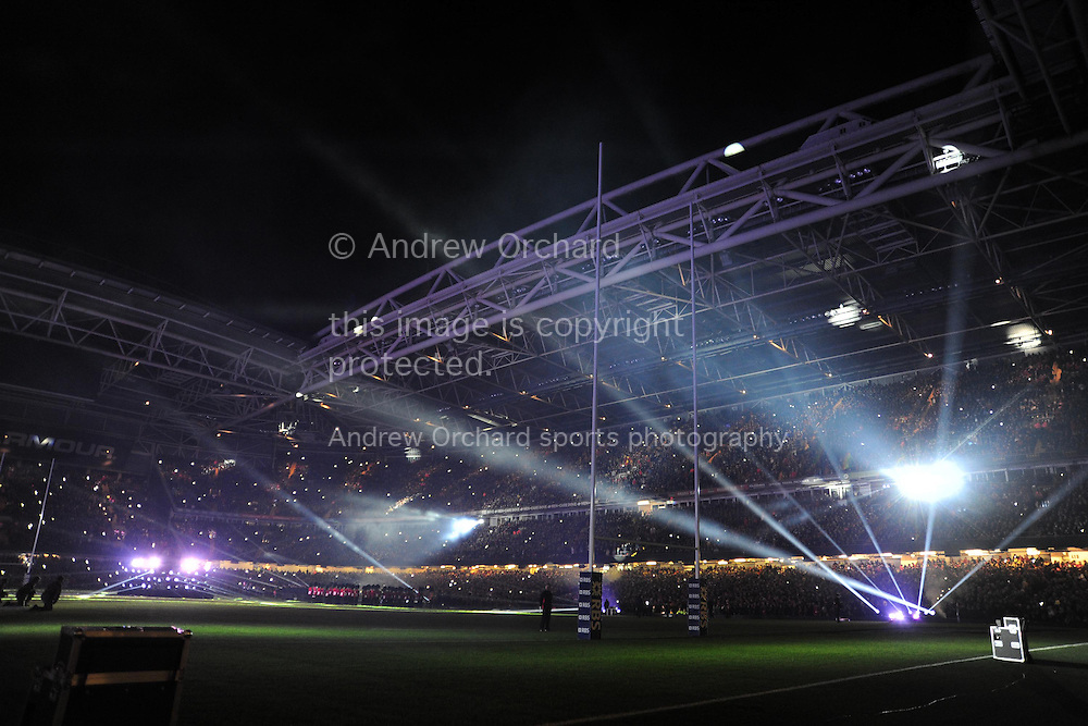 a general view of a light show before k/o. RBS Six nations championship 2015, Wales v England at the Millennium Stadium in Cardiff, South Wales on Friday 6th  Feb 2015. pic by Andrew Orchard, Andrew Orchard sports photography.