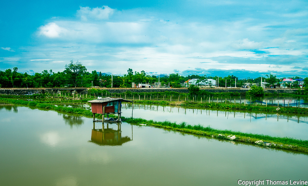 Stilt house on the water close to Hue, Vietnam.