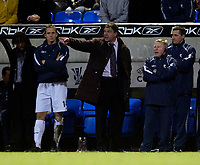 Photo: Jed Wee.<br /> Bolton Wanderers v Sevilla. UEFA Cup. 14/12/2005.<br /> <br /> Bolton manager Sam Allardyce endures a tense final few minutes as a Sevilla equaliser put things in the balance.
