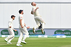 England's Ben Stokes celebrates taking the wicket of India's Mohammed Shami during day four of the Specsavers First Test match at Edgbaston, Birmingham.