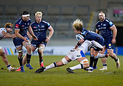 Sale Sharks Faf De Klerk takes a big hit during a Gallagher Premiership Round 9 Rugby Union match, Friday, Feb 12, 2021, in Leicester, United Kingdom. (Steve Flynn/Image of Sport)
