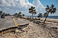 Damage to Highway 98, by Hurricane Michael, the main road passing through Mexico Beach, Florida .