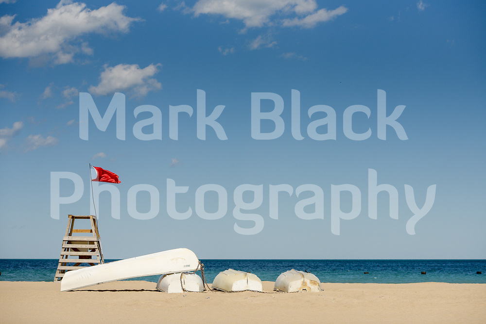 North Avenue Beach Life Guard Stand and rowboats in Chicago, Illinois on Friday, Sept. 4, 2020. Photo by Mark Black