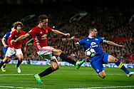 Ander Herrera of Manchester United follows up a free kick during the English Premier League match at Old Trafford Stadium, Manchester. Picture date: April 4th 2017. Pic credit should read: Simon Bellis/Sportimage