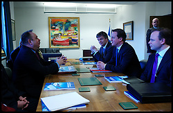 Scottish First Minister Alex Salmond meets British Prime Minister David Cameron during talks on the Scottish Independence referendum in St Andrews House on February 16, 2012 in Edinburgh, Scotland. David Cameron said he would consider devolving further powers for Scotland if the Scottish people voted against independence in a referendum. Photo By Andrew Parsons/ i-Images