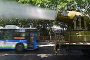 CHONGQING, CHINA - JULY 30: (CHINA OUT) <br /> <br /> Sprinkling Truck With Giant Water Cannon<br /> <br /> Multi-function dust suppression truck, a sprinkling truck with a giant water cannon, is seen on July 30, 2014 in Chongqing, China. Multi-function dust suppression truck with the range of 100 meters was used in Chongqing for dust suppression.<br /> ©Exclusivepix