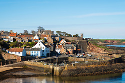 View over village and harbour at Crail on East Neuk of Fife in Scotland, UK