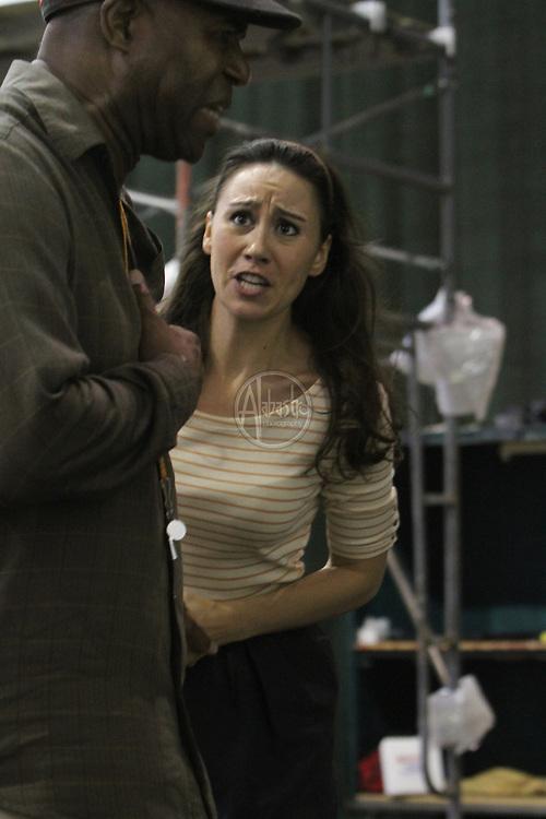 Seattle Opera SORS rehearsal of Fidelio  Rocco (Arthur Woodley).  Marzelline (Anya Matanovic?).