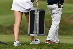 The Ryder Cup trophy being transported at the conclusion of day three of the 43rd Ryder Cup at Whistling Straits, Wisconsin. Picture date: Sunday September 26, 2021.