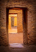 Doorways in the ancient Pueblo Bonito village in Chaco canyon